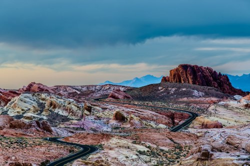 Amazing-Rainbow-of-colored-rocks-at-Valley-of-Fire-during-sunset