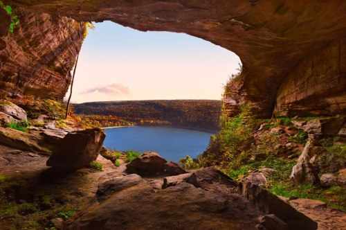 Cave-overlooking-lake-in-autumn