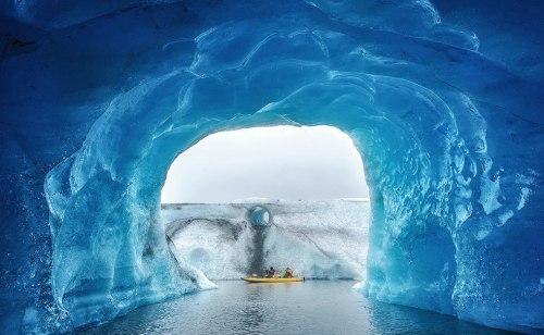 Kayaking-inside-an-ice-cave-Glacier-Iceberg-landscape