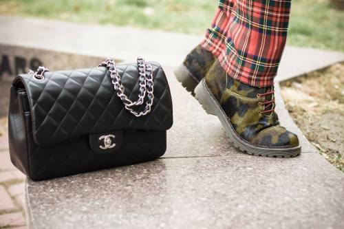chanel jumbo and military boots