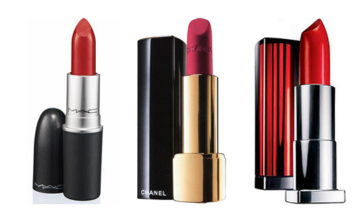 mac , chanel, maybelline la rouge