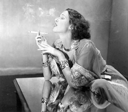 Napier Shelly in Nightgown Smoking Cigarette Dahl-Wolfe, Louise n.d.