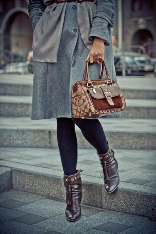 ysl cowboy booties and vintage coach bag