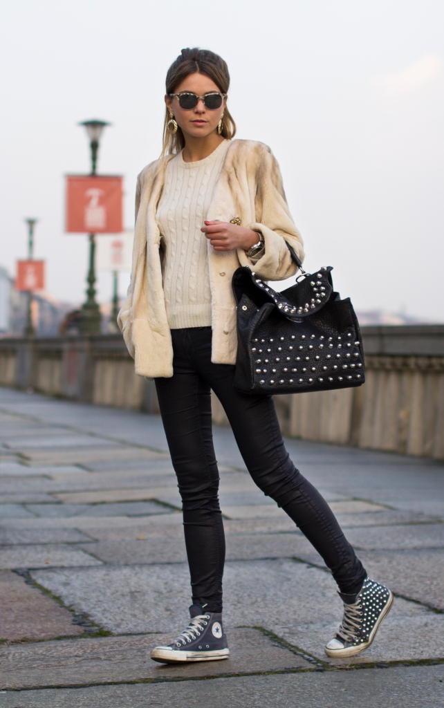boho chic casual with a mink jacket