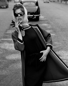 Dress and Jacket with White and Black Trim, photo John French. London, England, 1960