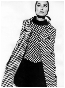 tania-mallett-in-black-and-white-checked-coat-and-sleeveless-dress-by-polly-peck-photo-by-john-french-nov-1963
