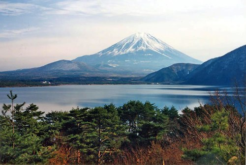 fuji-five-lakes-area-of-lake-motosu-with-mount-fuji-in-the-background