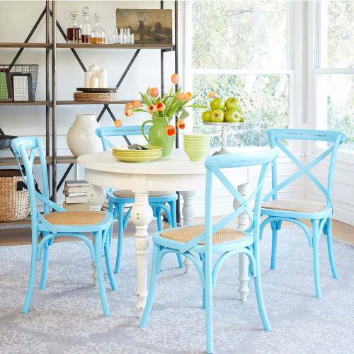 amazing-beach-house-formal-dining-room-sets-design-with-white-wooden-round-table-and-4-piece-turquoise-chairs-on-light-blue-rug-floor-added-open-metal-dining-buffet-design-discount-grani