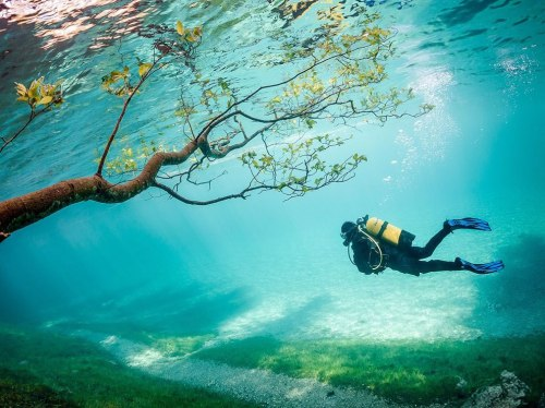 Scuba-diver-in-Green-Lake-Tragoss-Austria