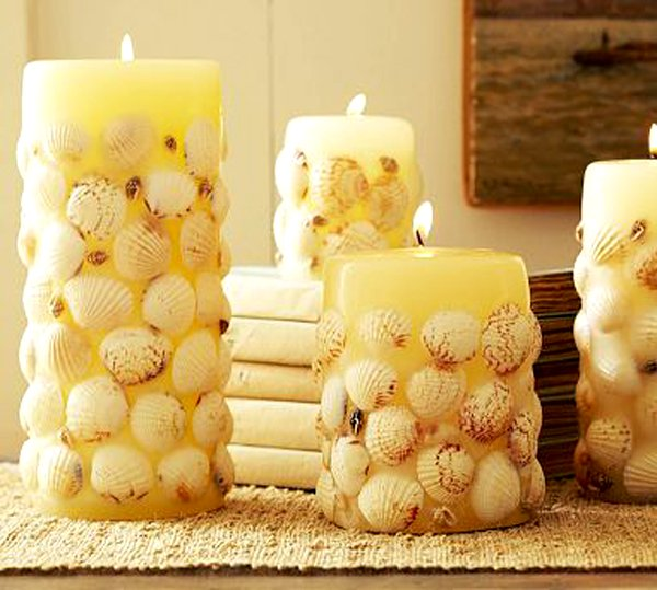candle and shell